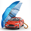 Car being protected by the umbrella of insurance.